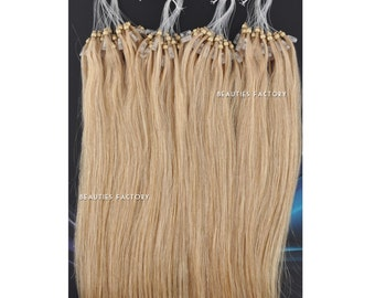 Beauties Factory Handmade Micro Loop Ring Remy Human Hair Extensions Color 18/613 Ash Blonde/ Cream Blonde Mix 20inch
