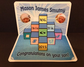 Baby Congratulations Pop Up Card personalized