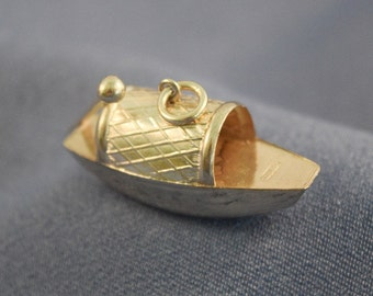 Asian sampan boat large sterling silver charm