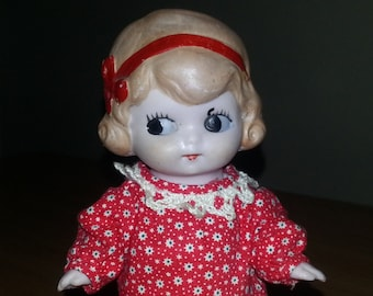 """6"""" German Bisque Googlie Doll, Painted Molded Hair"""