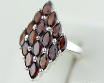 Size 7 MARQUISE AFRICAN GARNET (Nickel Free) 925 Fine S0LID Sterling Silver Ring & Free Worldwide Express Shipping r1103