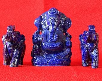 885 carat,Ganesha & Elephants Figurine Set handcarved out of Lapis Lazuli,Handicraft from IndiaLGELE401