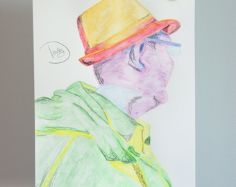 "Original drawing - Colorful man portrait with watercolour pencils ""Looking away..."" - Small surreal drawing"