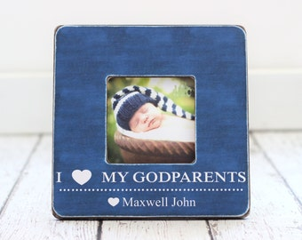Godmother Godfather Godparents GIFT Personalized Picture Frame Baptism I Love My Godparents