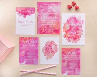 Blush - Custom water colour Wedding invitations, with matching envelope