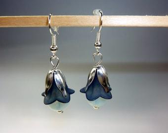 Blue Bell Flower Earrings, Bellflower,
