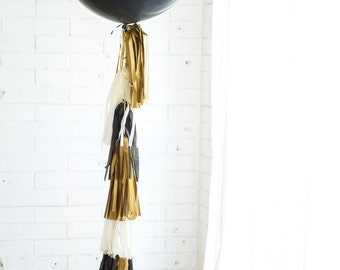 36 inch Balloon Tassel // Glitz & Glam // Gold, Black, Ivory // New Years Eve, Wedding, Champagne Toast, Photo Prop
