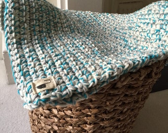 Cosy security/comforter baby blanket (afghan) - turquoise