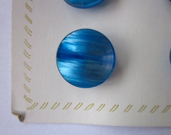 """10 Vintage Marbled Teal Blue 9/16"""" Plastic Buttons on Card"""