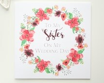 Wedding Gift For Sister Cash : Sister On My Wedding Day Card - On The Day Wedding Stationery - Bridal ...