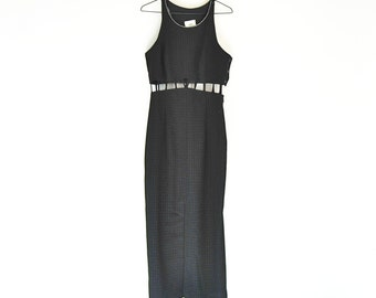 Cage Dress With Halter Top And Rhinestone Collar, 90s Maxi Dress With Sparkle