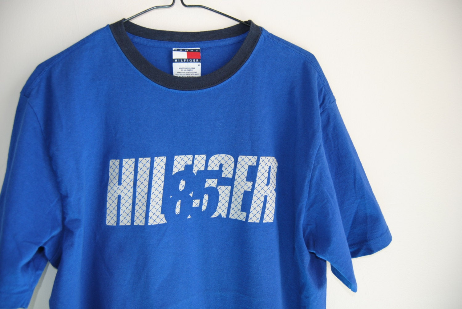 90s tommy hilfiger t shirt with embossed stainless steel. Black Bedroom Furniture Sets. Home Design Ideas