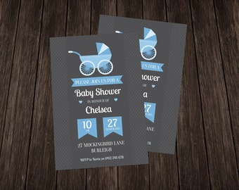 Vintage Baby Shower Invite-Blue