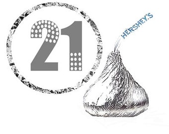 Twenty- First ( 21st ) Birthday Party Favor Hershey's Kisses Stickers / Labels -216ct
