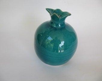 Ceramic pomegranet, turquiose glaze