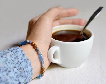 Blue agate bracelet handmade jewelry bracelet blue gemstone bracelet nature jewelry bracelet gift for her blue beaded bracelet