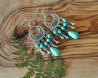Boho Chic Gypsy Tribal Earrings - Turquoise Earrings