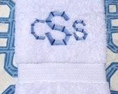 Embroidered Monogram White Bath Towel