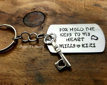 Handstamped Keychain, You Hold The Keys To My Heart Keychain, Personalized Keychain with Key Charm