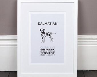 Dalmatian Print Gift Picture Art Artwork Illustration Text Typography