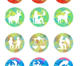 12 Astrology Zodiac Signs Tumblr Watercolor Stickers Pack