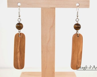 Handmade Italian Olive wood and tiger eye earrings