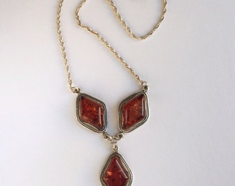 Natural Amber Sterling Necklace