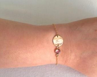 Personalised Gold Disc Bracelet, Baby Bracelet, Little Girl Bracelet, Child Bracelet, Everyday Bracelet, Birthstone Bracelet, Customised