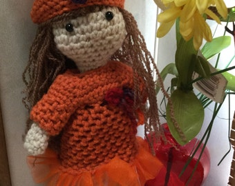Crochet Doll Bright Orange Colors Ready to ship