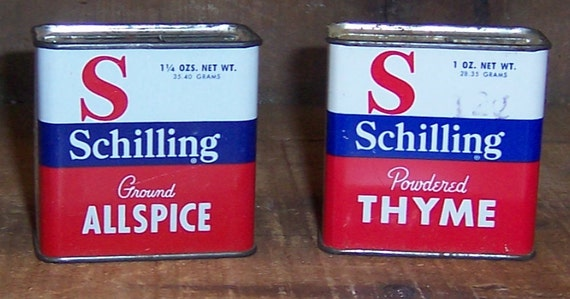 Vintage set of 2 schilling spice tins allspice thyme for Retro kitchen set of 6 spice tins