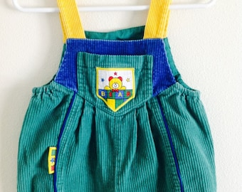 Vintage 1980's Green Corduroy Toddler Bib Overall Pants / Size 6-9 Months Old