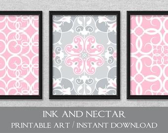 Printable Art, Art for Girl's Room, Set of 3 Prints, Printable Nursery Art, Bedroom Decor, Pink and Gray Art, Printable Wall Art