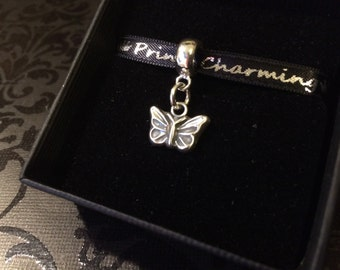 Handmade silver butterfly charm can be personalised