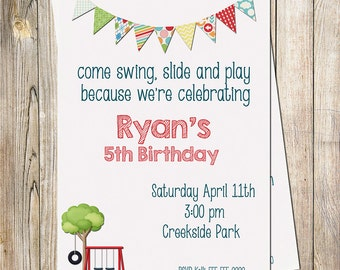 Park Birthday Invitation, Kids Invitation, Park Invitation, Playground Invitation Printable Invitation, 1st Birthday, 2nd Birthday