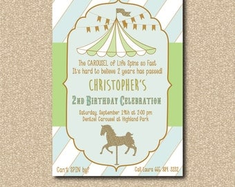 Carnival Birthday Invitation boy circus/printable/Digital File/carousel horse, boy birthday invitation/Wording & Colors can be changed
