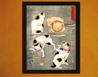Japanese Art Print - Four Cats In Different Poses - K. Utagawa Ukiyo-e Fine Art Print Retro Wall Decor Home Decor Designt