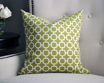 Green Pillow, Geometric pillows, Cushion Cover, Olive green pillow, throw pillow, Green & white Pillow cover, Outdoor pillow cover
