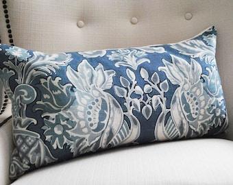 Decorative Pillows, Lumbar pillow cover, Blue white pillow, Pillows, Home decor, handmade, Throw pillow, 14 x 26 inch, 14 x 24 inch