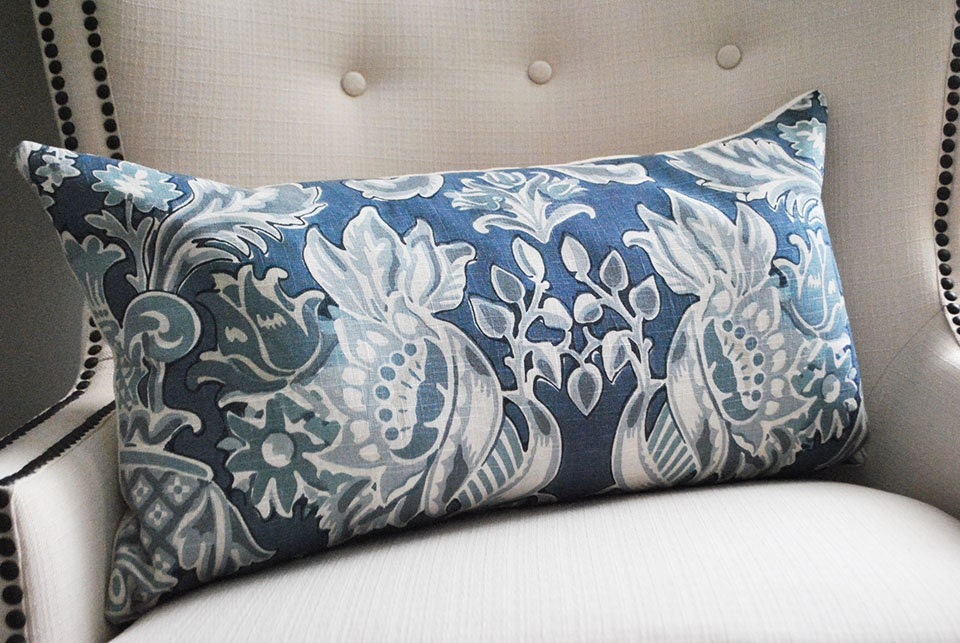 Large Off White Throw Pillows: Decorative Pillows Lumbar Pillow Cover Blue White Pillow
