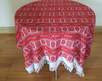 Ukrainian RUSNYK Hand Embroidered Linen Tablecloth with Red Geometric Pattern//  Vintage 60s Folk Handmade Rushnyk Linen Tablecloth