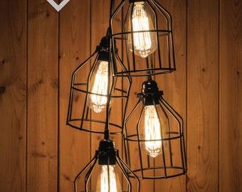 Black Cage Chandelier/pendant light Industrial Aluminium ceiling light, Antique Edison Bulb, Lamp, Rustic Lighting