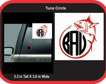 Tuna Fishing Round Monogram Decal