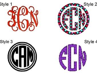 Monogram/Initials Vinyl Car Decal/Sticker.Vine.Circle.