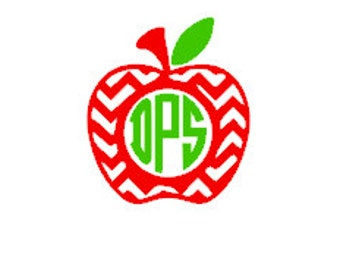 Chevron Monogram/Initials Apple Vinyl Decal/Sticker. Teachers Gift. Back to School