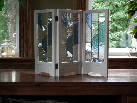Mini paravent d coratif avec vitrail for Porte pour paravent