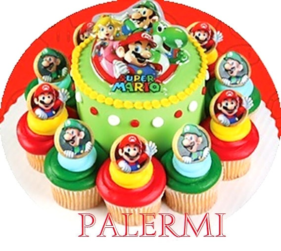 Super Mario Cake Topper 12 Cupcake Rings Cake Kit Super