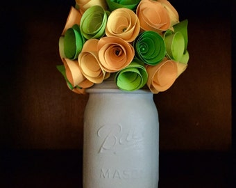 Rustic green and yellow paper rose bouquet! In a hand painted gray mason jar!