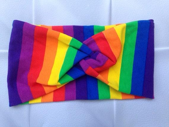 Women's Turban Style Knit Fabric Headband - Rainbow, Knot Style Headwrap - Knit Headband