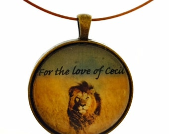 Cecil the lion remembrance pendant necklace, charm necklace, lion pendant, donation of 25% to help lions, gift for animal lovers, wildlife