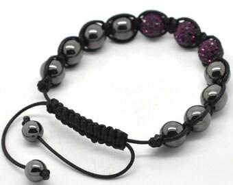 Hematite Purple Rhinestone Black Macramé Shamballa Bracelet 7-10 Inches Adjustable